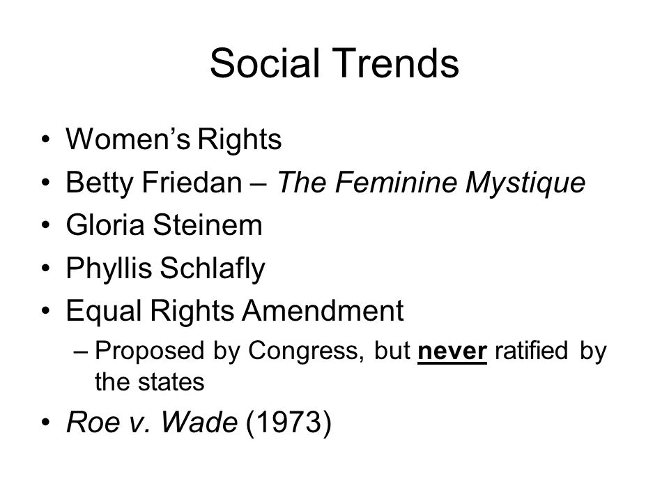 Social Trends Women's Rights Betty Friedan – The Feminine Mystique