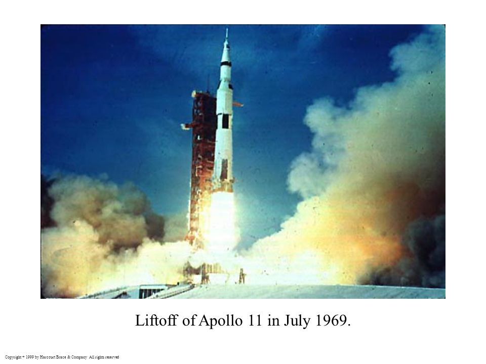 Liftoff of Apollo 11 in July 1969.
