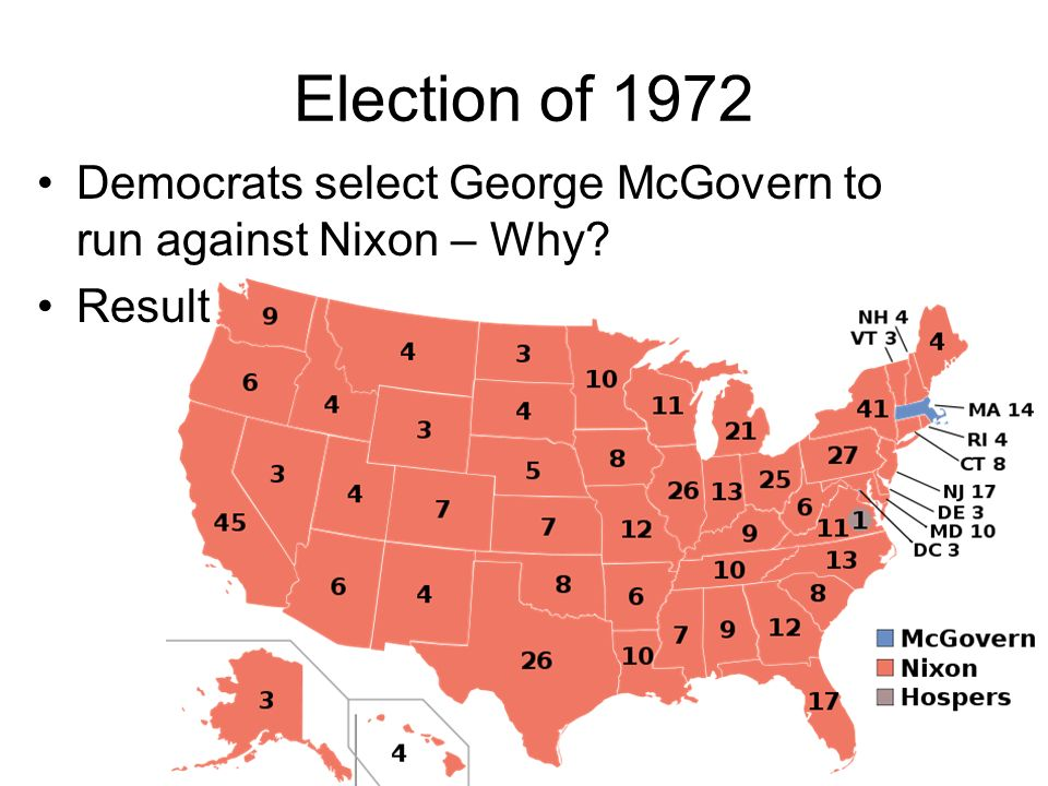 Election of 1972 Democrats select George McGovern to run against Nixon – Why Result