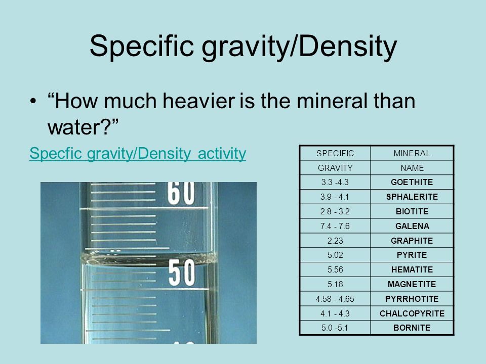 How to get density from specific gravity