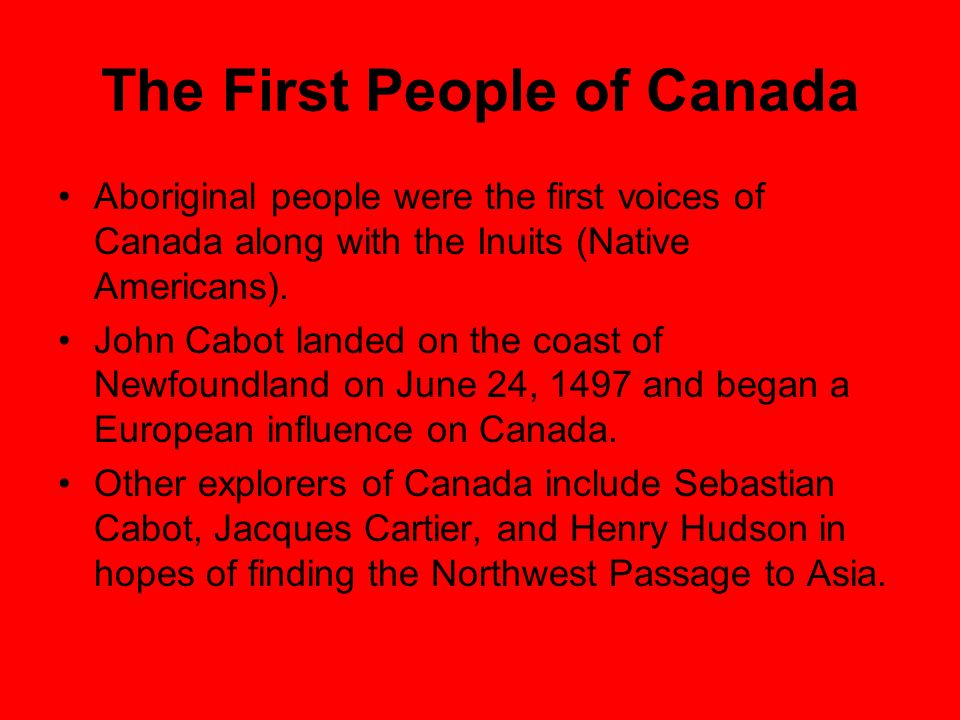 The First People of Canada