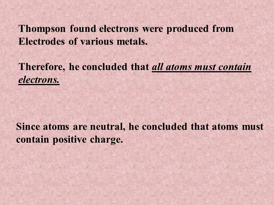 Thompson found electrons were produced from