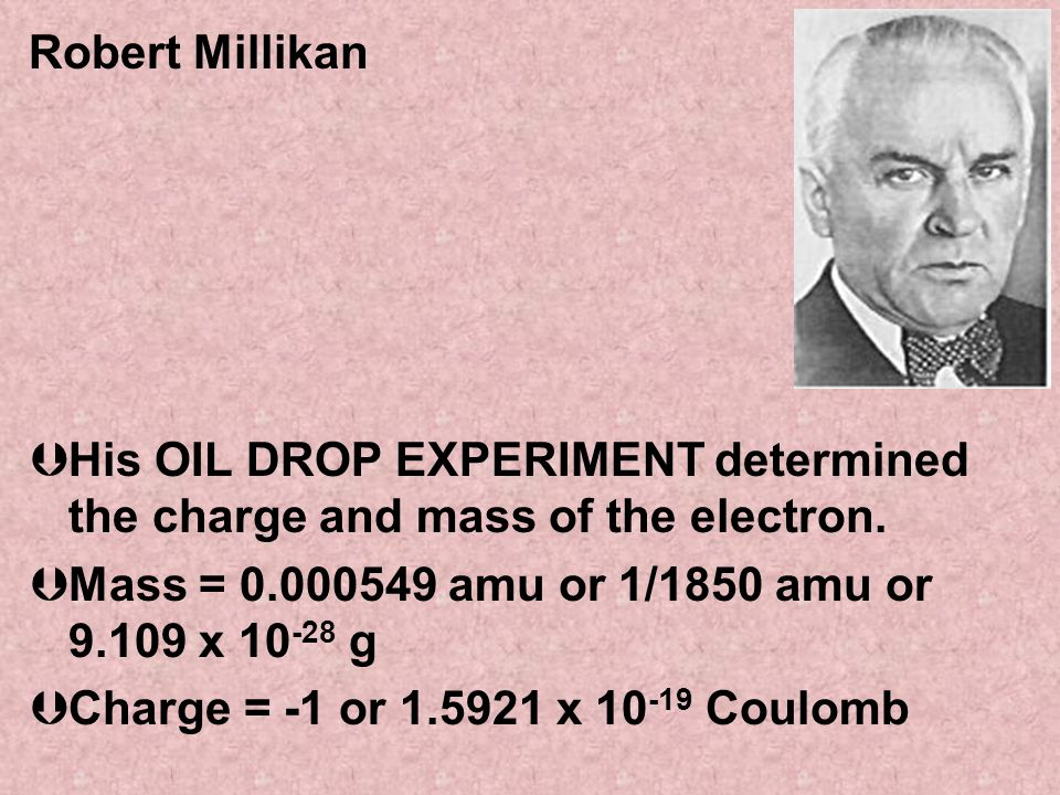 Robert Millikan His OIL DROP EXPERIMENT determined the charge and mass of the electron. Mass = 0.000549 amu or 1/1850 amu or 9.109 x 10-28 g.