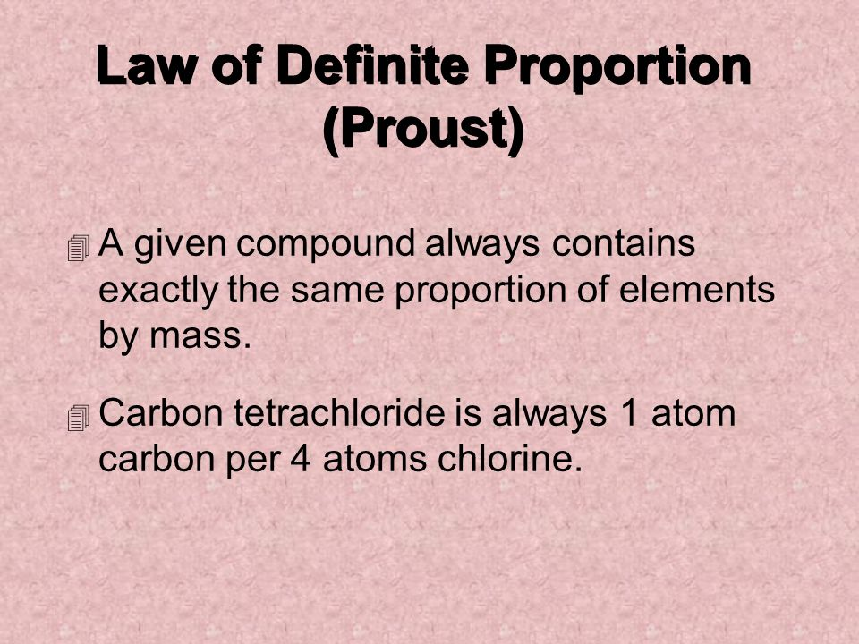 Law of Definite Proportion (Proust)