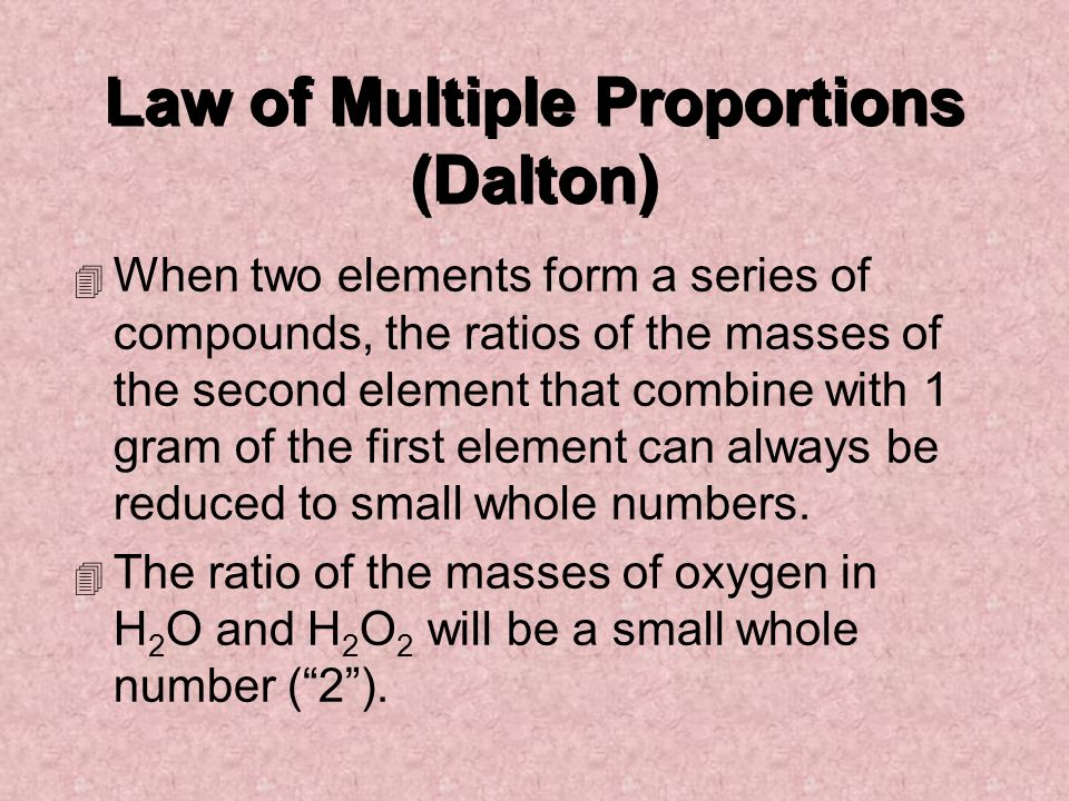 Law of Multiple Proportions (Dalton)