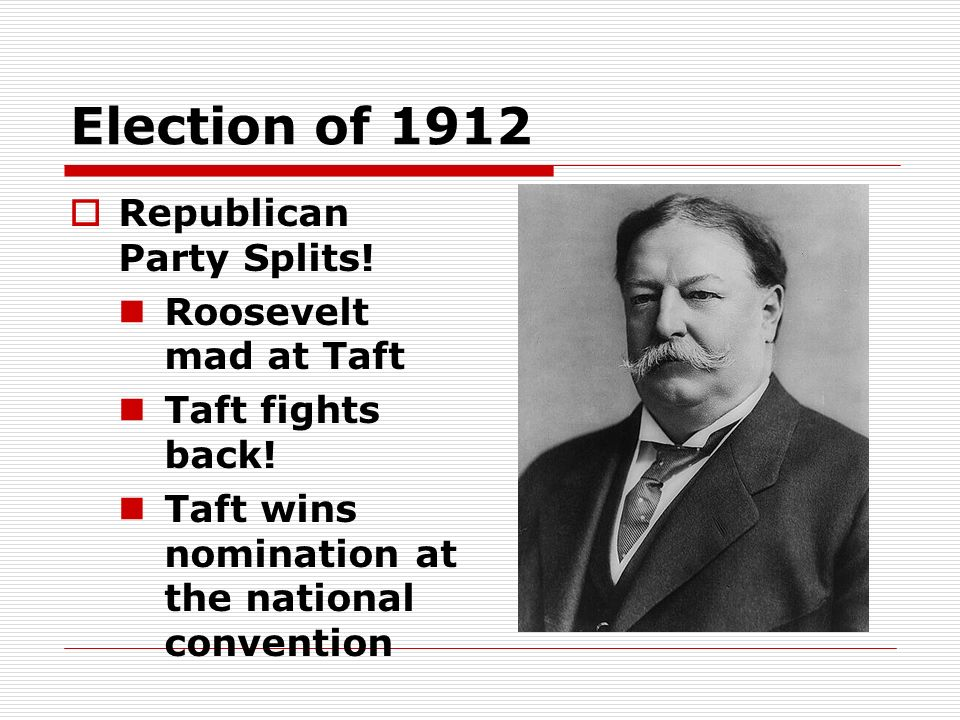 Election of 1912 Republican Party Splits! Roosevelt mad at Taft