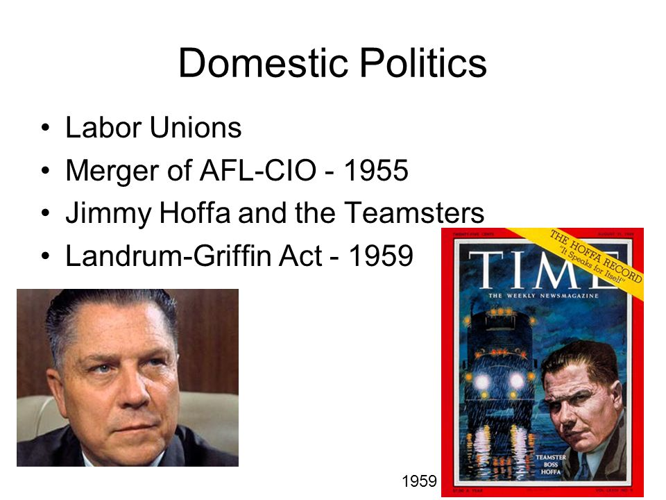 Domestic Politics Labor Unions Merger of AFL-CIO - 1955