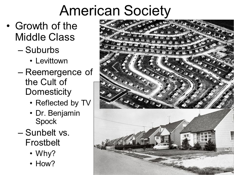 American Society Growth of the Middle Class Suburbs