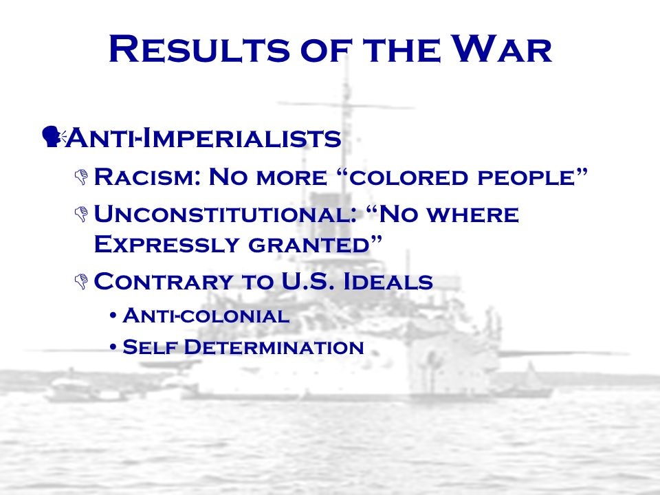 Results of the War Anti-Imperialists Racism: No more colored people