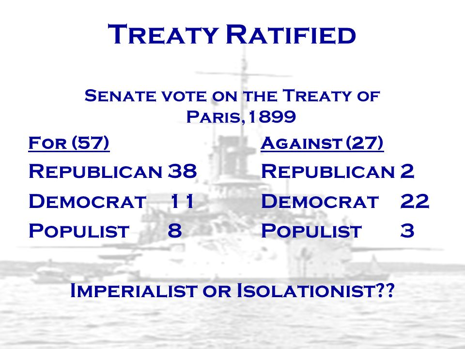 Treaty Ratified Republican 38 Republican 2 Democrat 11 Democrat 22