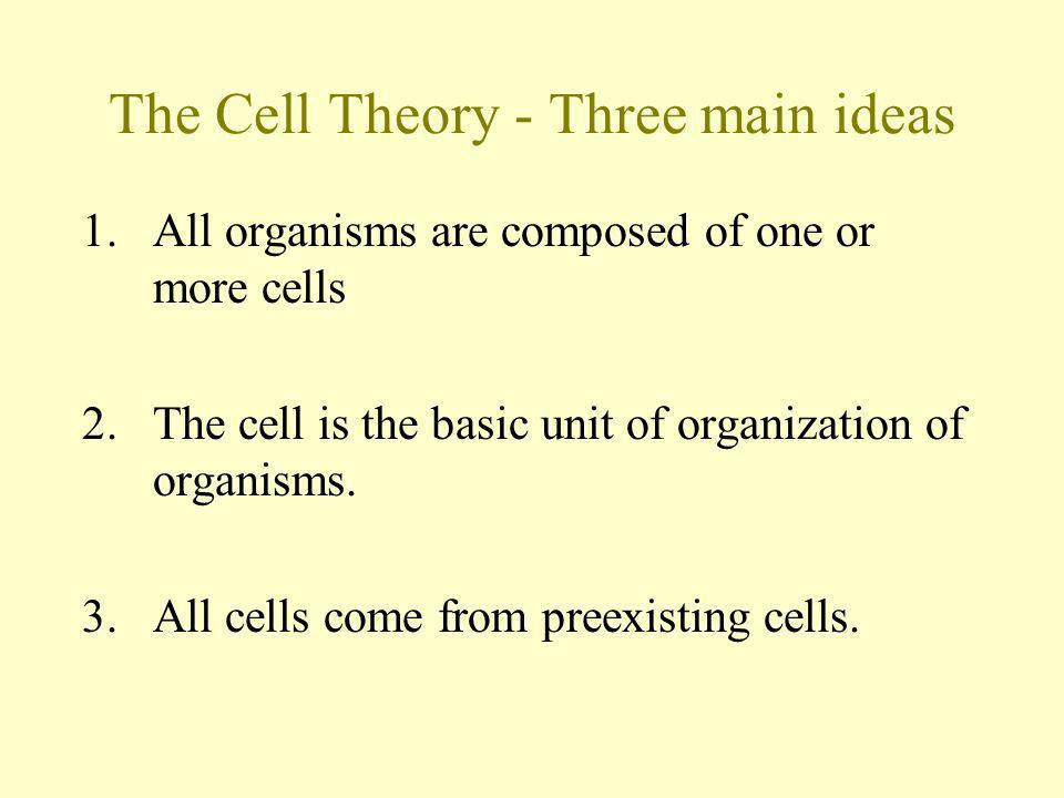 The Cell Theory - Three main ideas