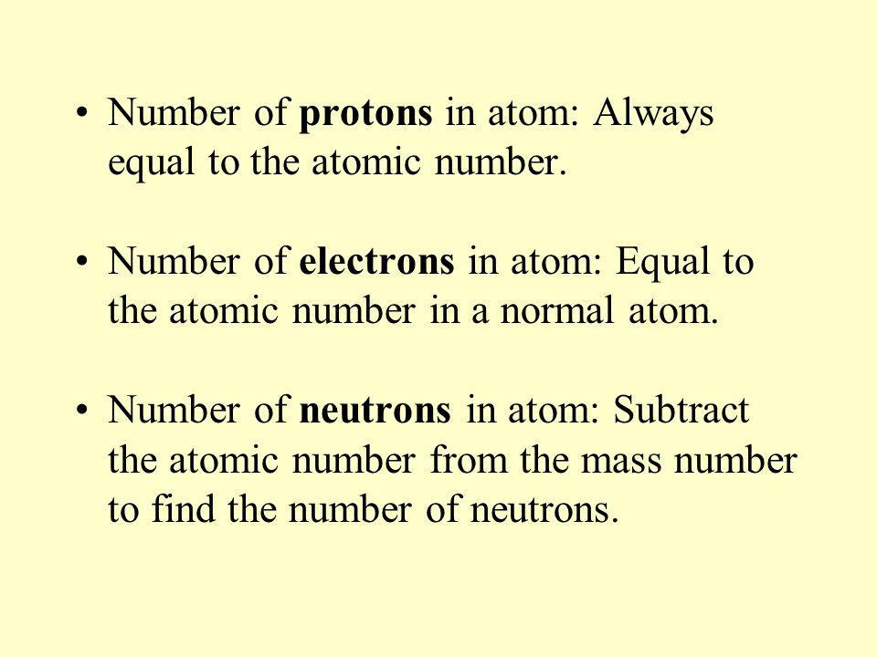 Number of protons in atom: Always equal to the atomic number.