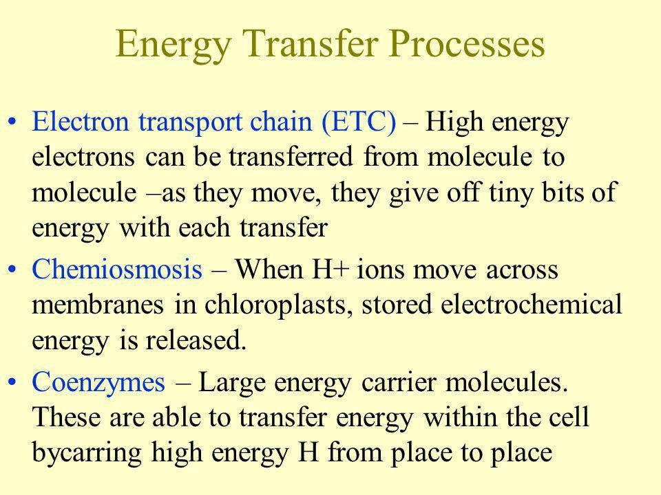 Energy Transfer Processes