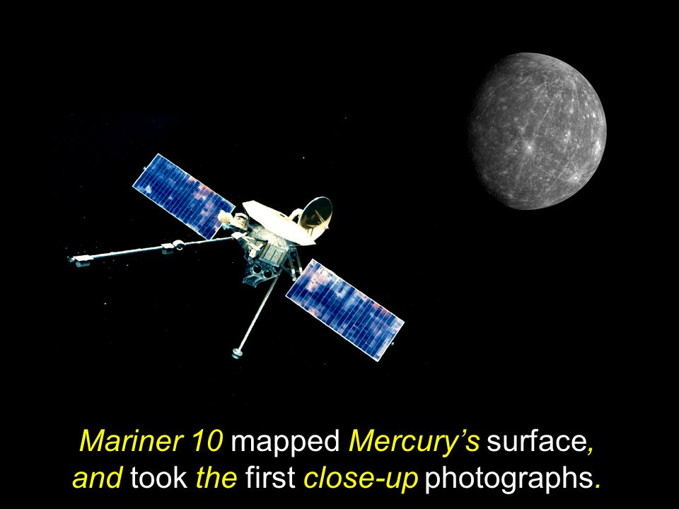 Mariner 10 mapped Mercury's surface, and took the first close-up photographs.