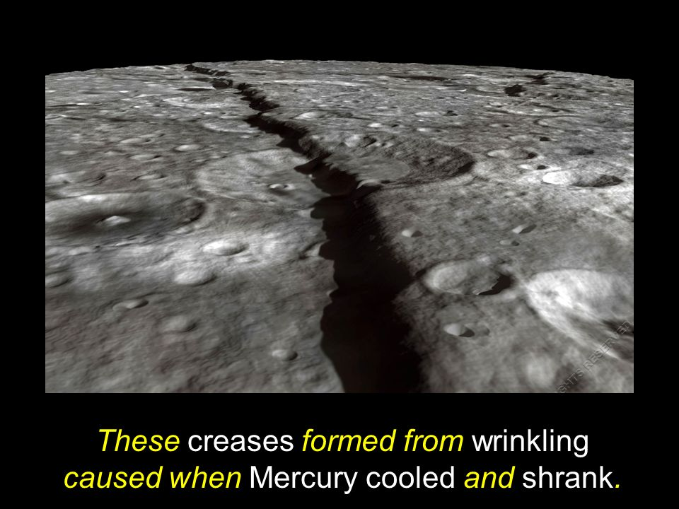 These creases formed from wrinkling caused when Mercury cooled and shrank.