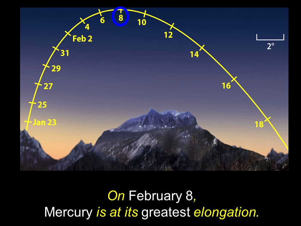 On February 8, Mercury is at its greatest elongation.