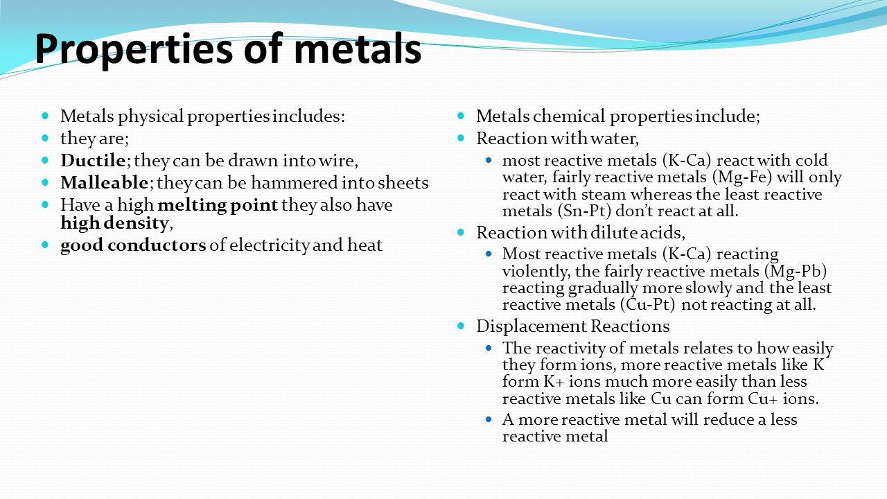 C10 metals ppt video online download properties of metals metals physical properties includes they are gamestrikefo Gallery