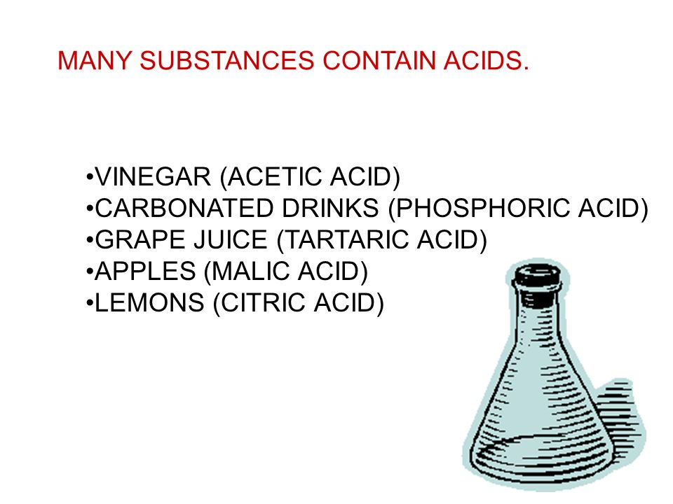 MANY SUBSTANCES CONTAIN ACIDS.