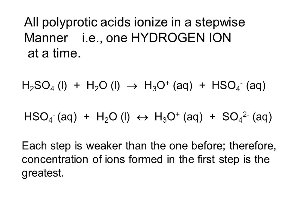 All polyprotic acids ionize in a stepwise