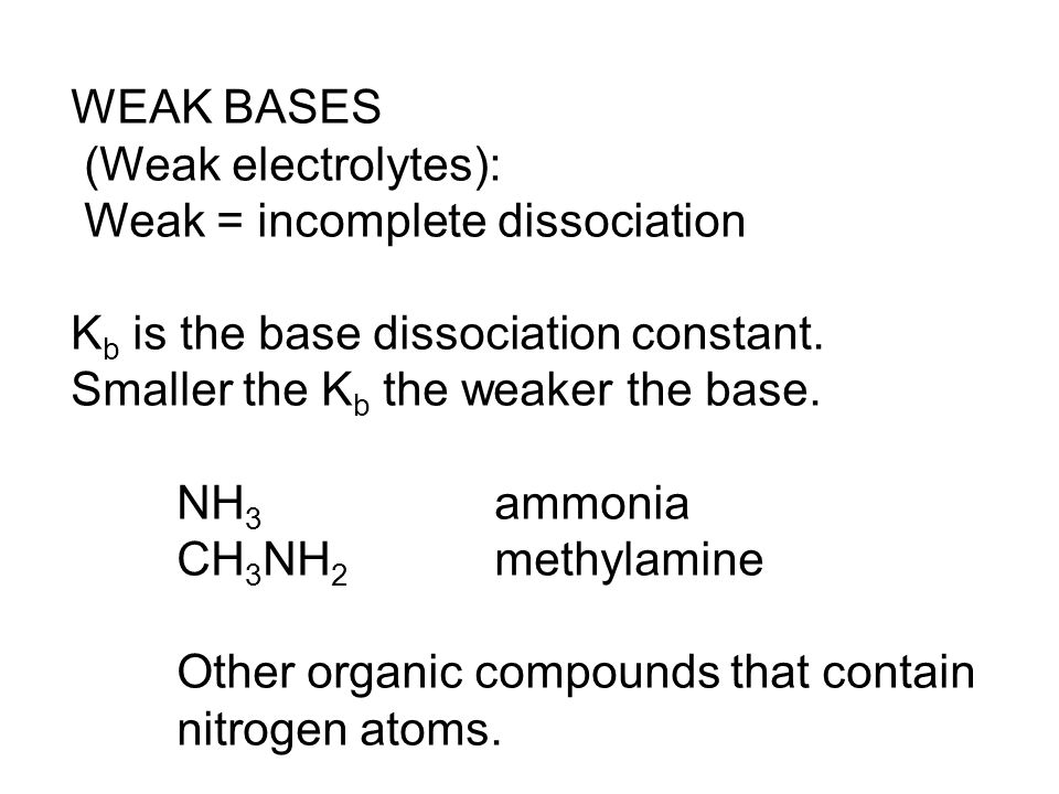 WEAK BASES (Weak electrolytes): Weak = incomplete dissociation. Kb is the base dissociation constant.