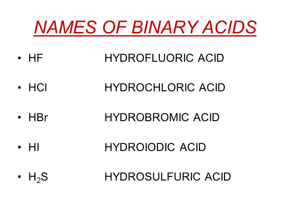 NAMES OF BINARY ACIDS HF HYDROFLUORIC ACID HCl HYDROCHLORIC ACID