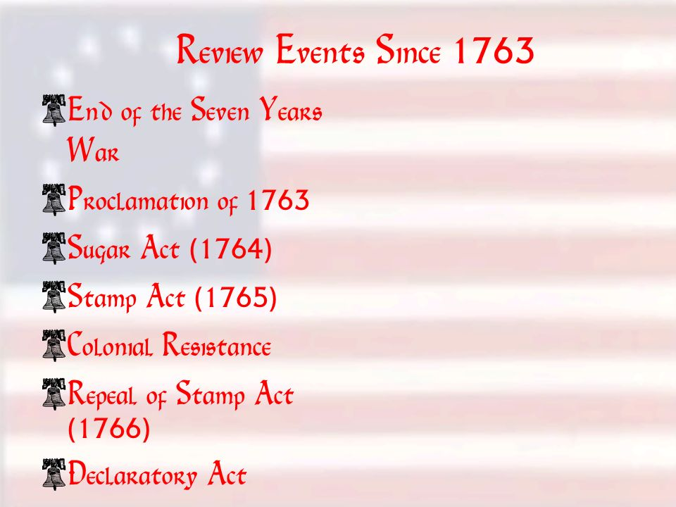 Review Events Since 1763 1763-17701763-1770 End of the Seven Years War