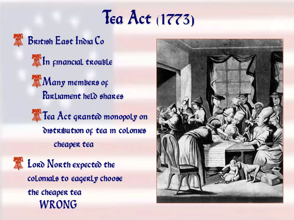 Tea Act (1773) British East India Co In financial trouble