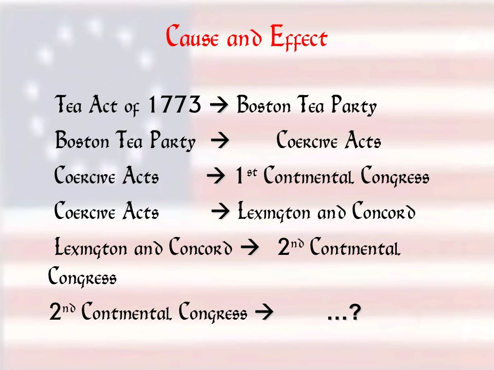 Cause and Effect Tea Act of 1773  Boston Tea Party