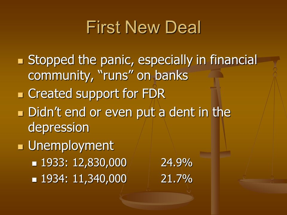 First New Deal Stopped the panic, especially in financial community, runs on banks. Created support for FDR.