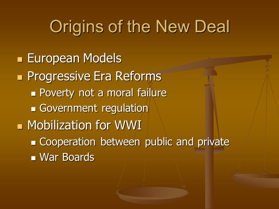 Origins of the New Deal European Models Progressive Era Reforms