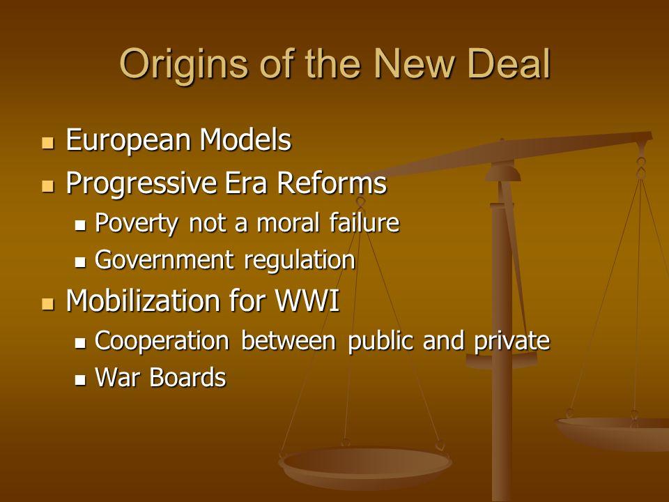 Origins of the New Deal European Models Progressive Era Reforms