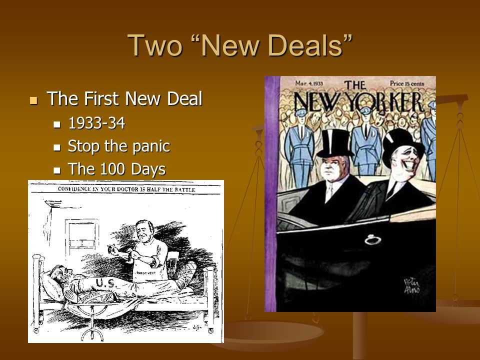 Two New Deals The First New Deal 1933-34 Stop the panic The 100 Days
