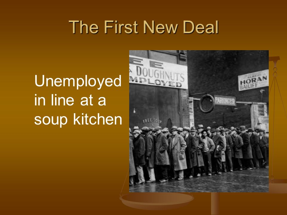 The First New Deal Unemployed in line at a soup kitchen