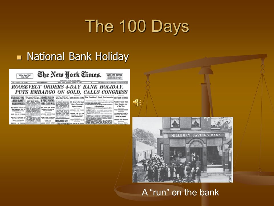 The 100 Days National Bank Holiday A run on the bank