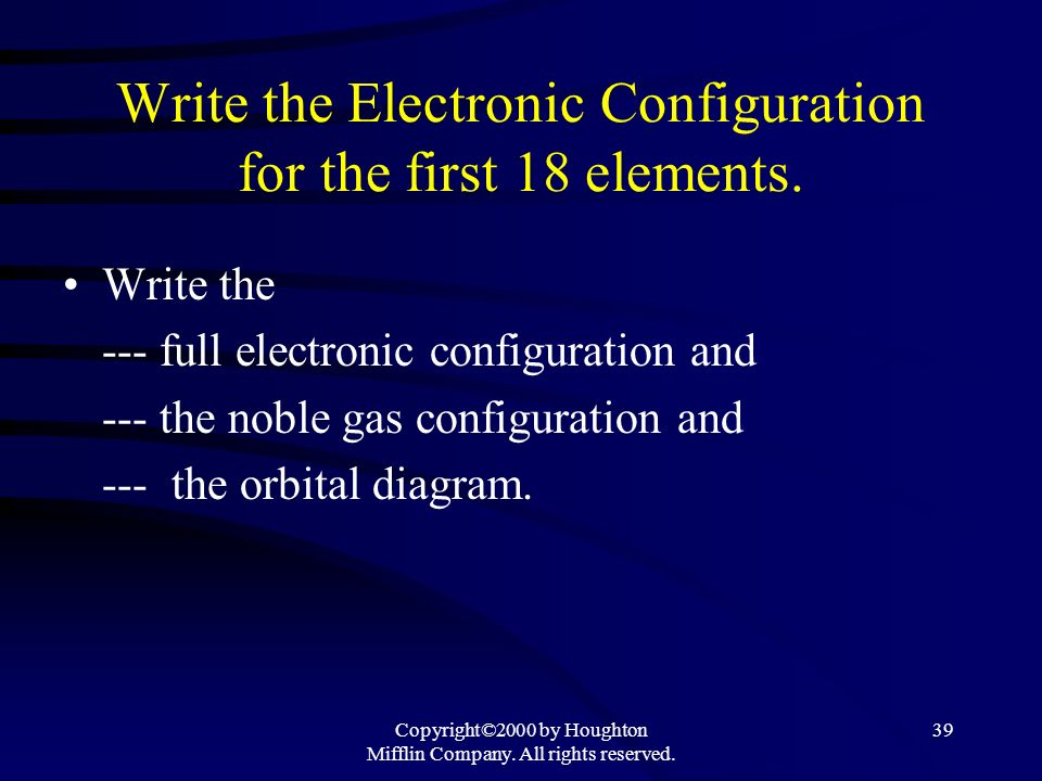 Write the Electronic Configuration for the first 18 elements.