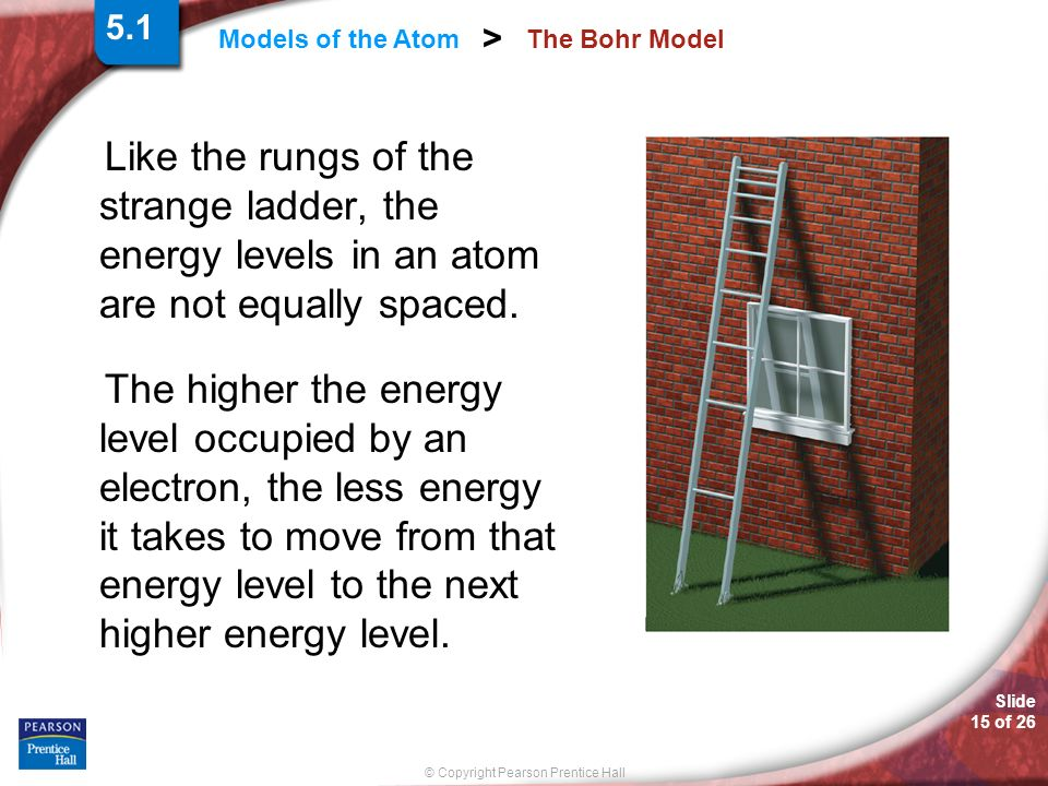 5.1 The Bohr Model. Like the rungs of the strange ladder, the energy levels in an atom are not equally spaced.