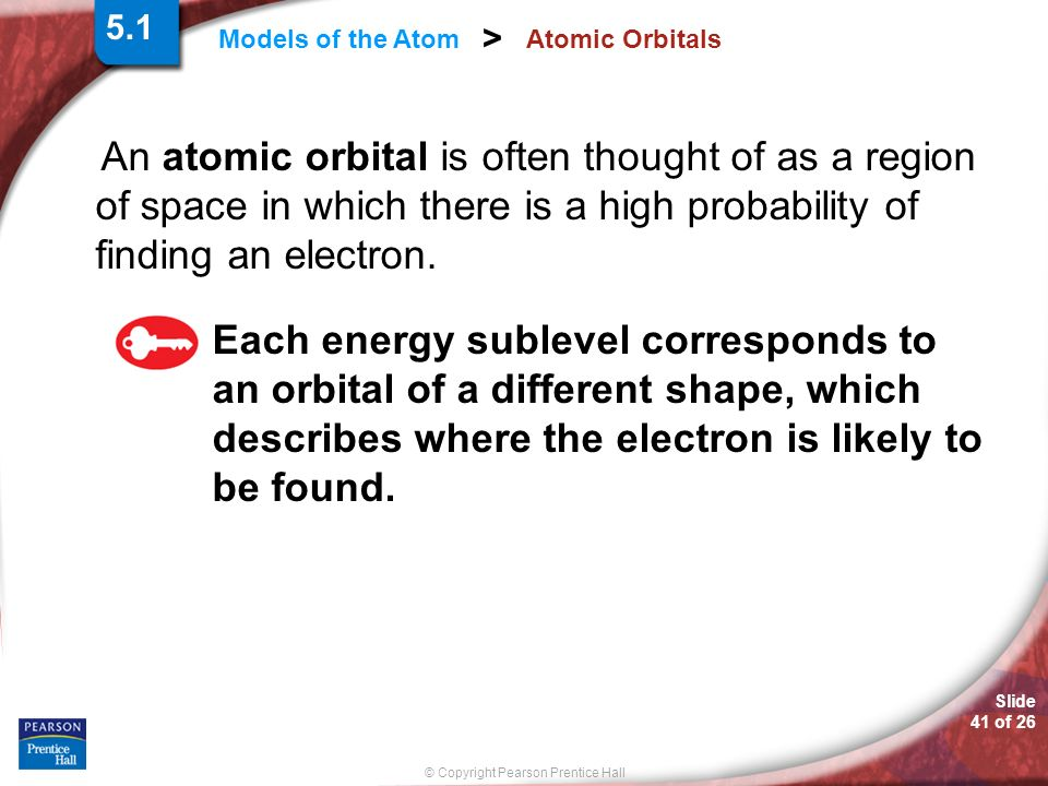 5.1 Atomic Orbitals. An atomic orbital is often thought of as a region of space in which there is a high probability of finding an electron.