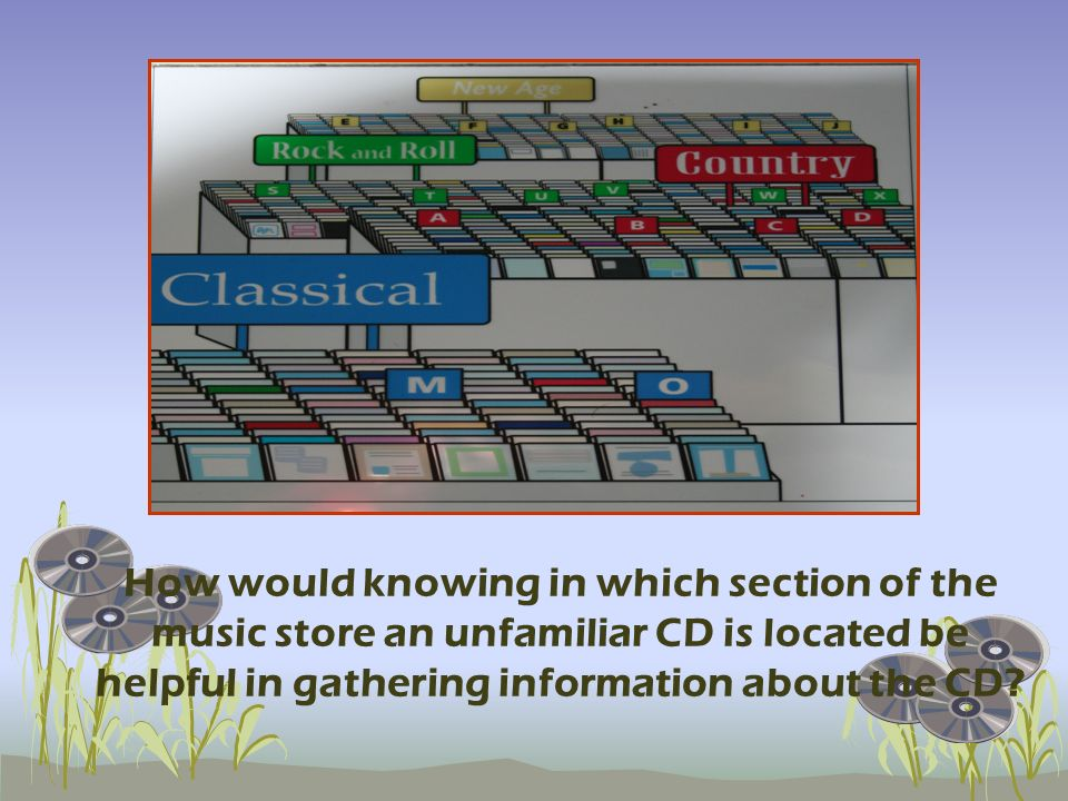 When you want to go buy some music you go to a music store that has all of the music grouped together in catagories. By knowing in which grouping the CD is in, you can know that the music on the CD has certain characteristics. It works the same way for understanding life on Earth…