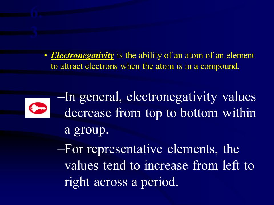 6.3 Electronegativity is the ability of an atom of an element to attract electrons when the atom is in a compound.