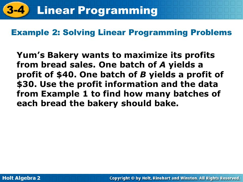 Example 2: Solving Linear Programming Problems