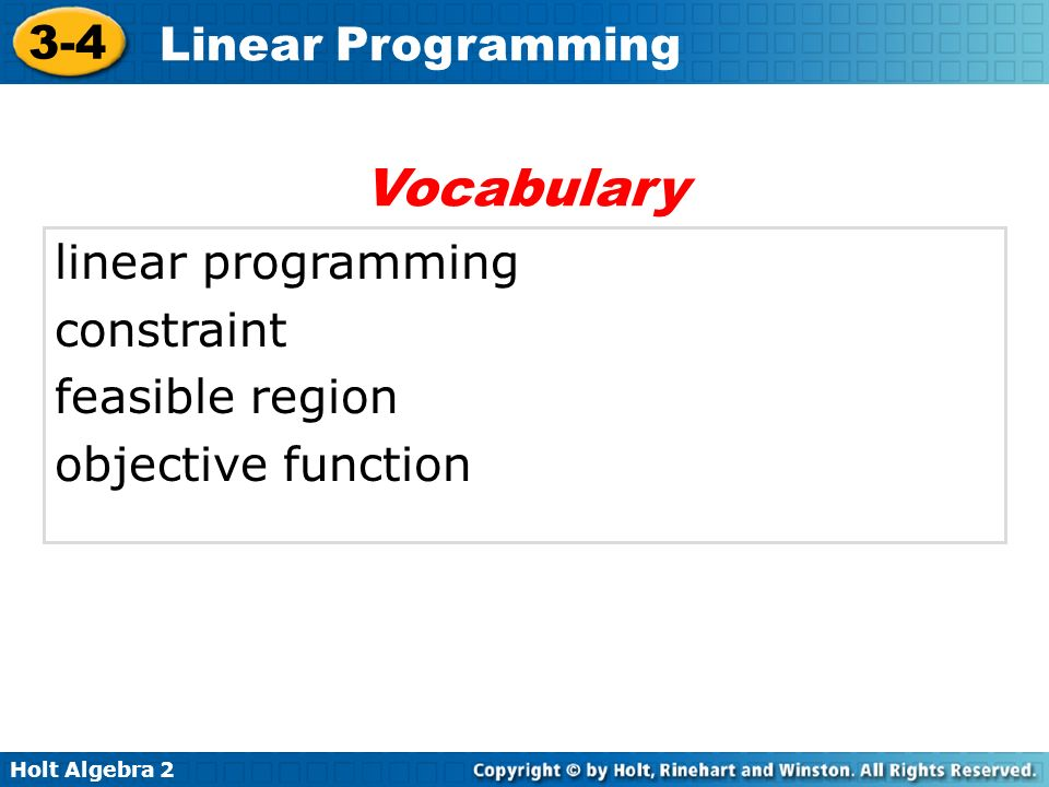 Vocabulary linear programming constraint feasible region