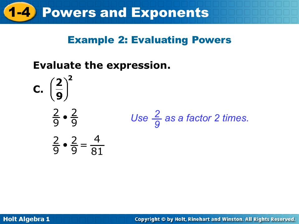 Example 2: Evaluating Powers