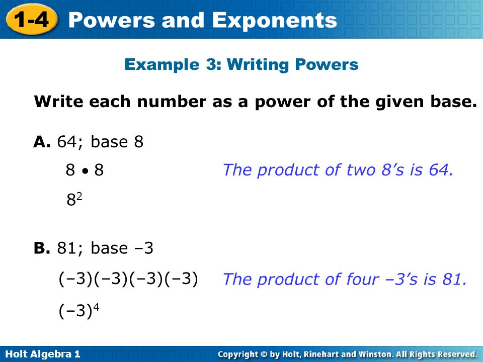 Example 3: Writing Powers