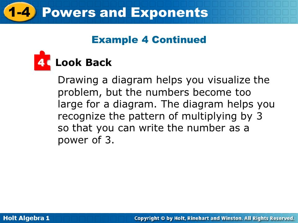 Example 4 Continued Look Back. 4. Drawing a diagram helps you visualize the. problem, but the numbers become too.
