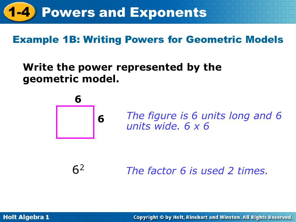 Example 1B: Writing Powers for Geometric Models