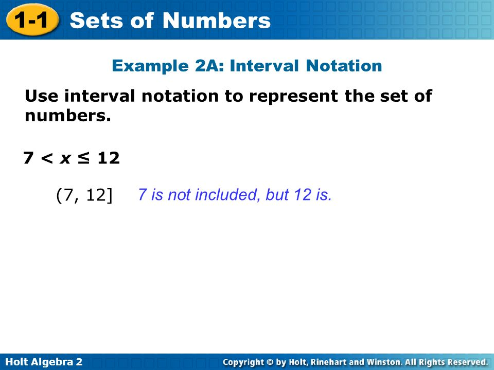 Example 2A: Interval Notation