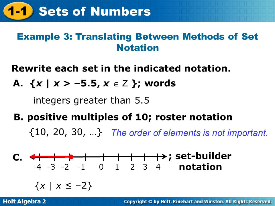 Example 3: Translating Between Methods of Set Notation