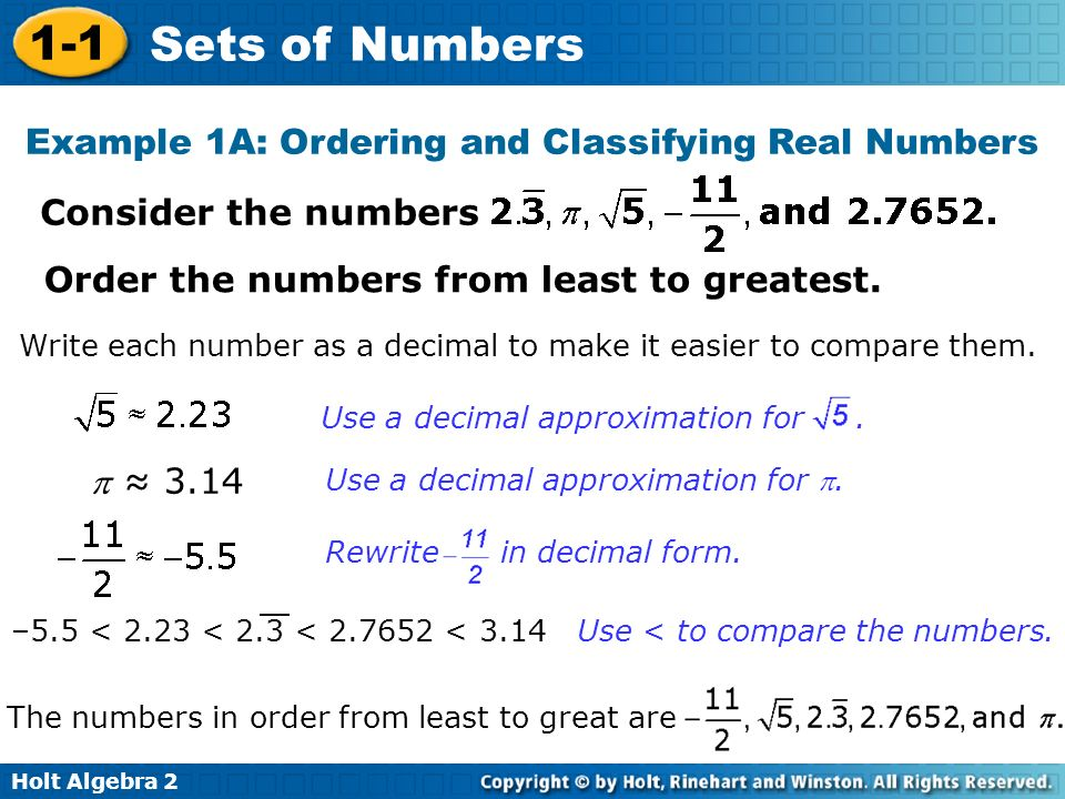 Example 1A: Ordering and Classifying Real Numbers