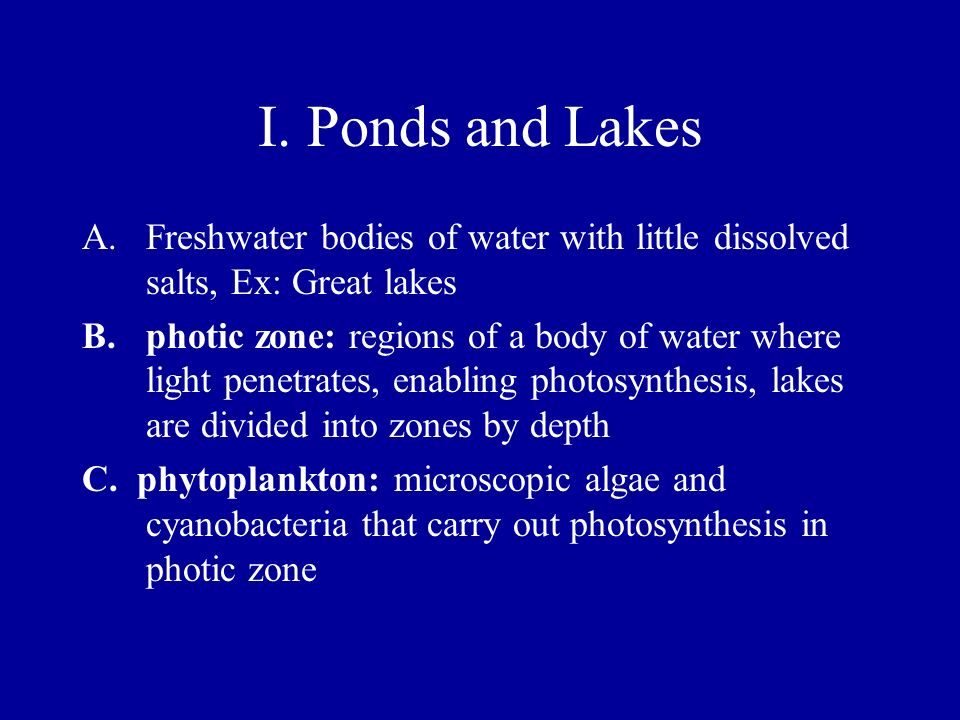 I. Ponds and Lakes Freshwater bodies of water with little dissolved salts, Ex: Great lakes.