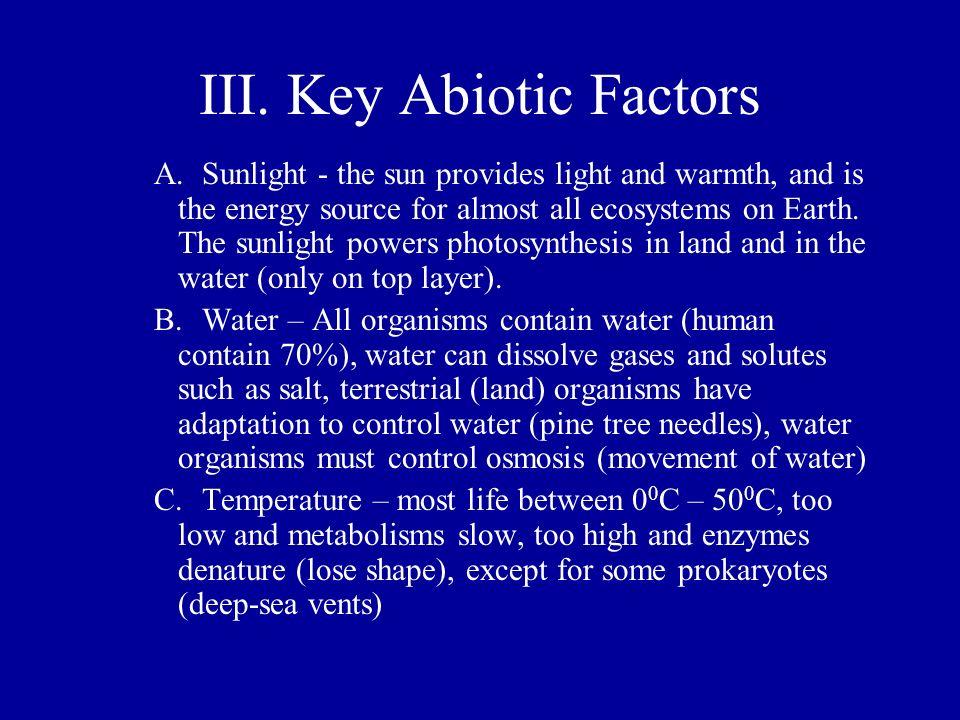 III. Key Abiotic Factors